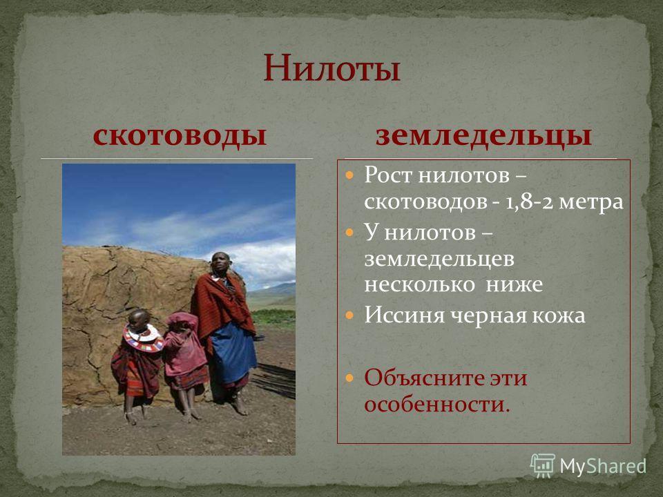 скотоводы Рост нилотов – скотоводов - 1,8-2 метра У нилотов – земледельцев несколько ниже Иссиня черная кожа Объясните эти особенности. земледельцы