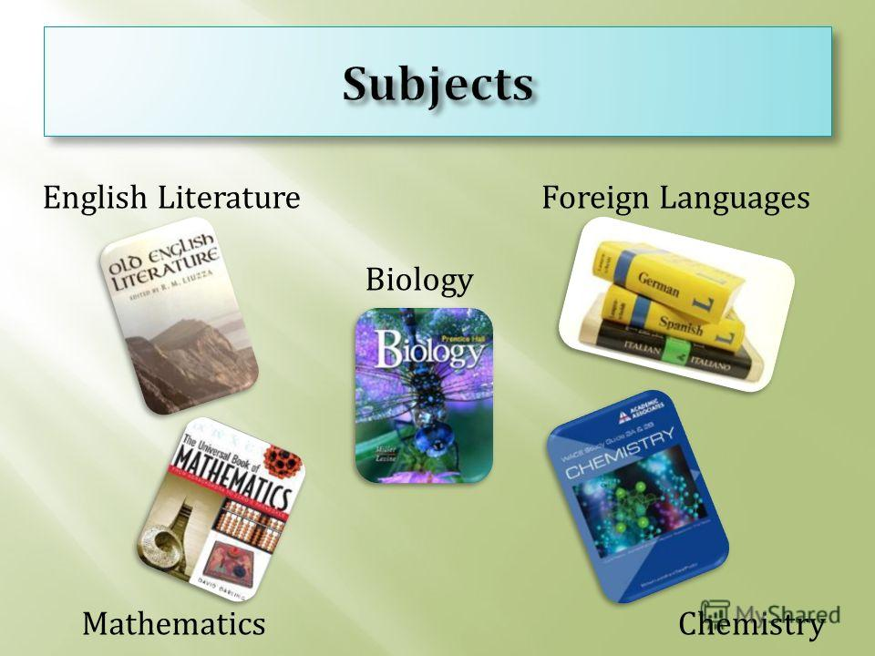 English Literature Mathematics Biology Chemistry Foreign Languages