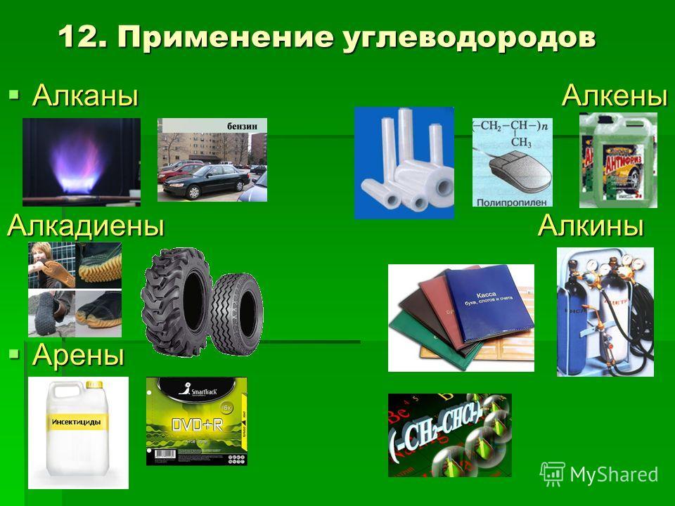 12. Применение углеводородов Алканы Алкены Алканы Алкены Алкадиены Алкины Арены Арены