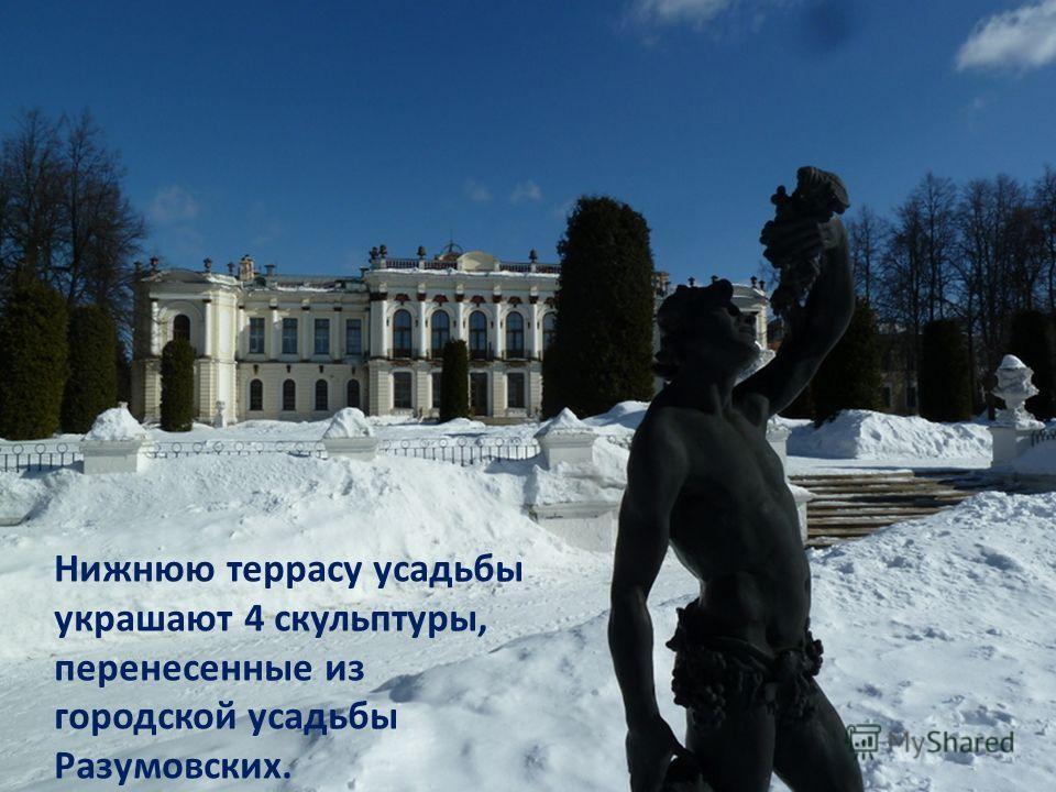 Нижнюю террасу усадьбы украшают 4 скульптуры, перенесенные из городской усадьбы Разумовских.