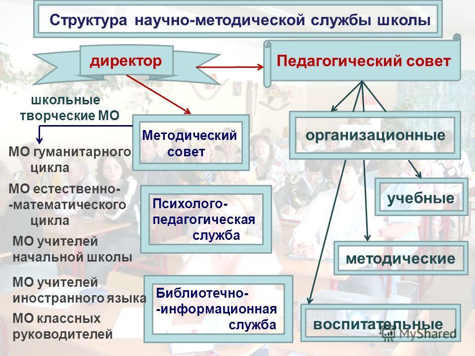 Структура научно-методической службы школы Методический совет Психолого- педагогическая служба Библиотечно- -информационная служба Педагогический совет директор школьные творческие МО МО гуманитарного цикла МО естественно- -математического цикла МО у
