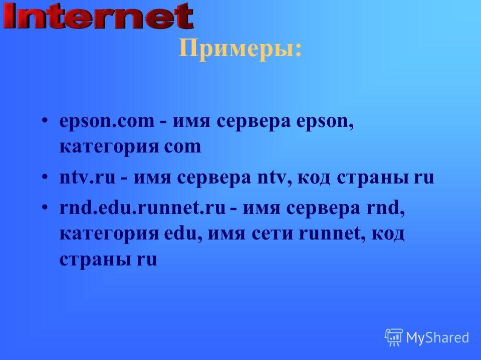 Примеры: epson.com - имя сервера epson, категория com ntv.ru - имя сервера ntv, код страны ru rnd.edu.runnet.ru - имя сервера rnd, категория edu, имя сети runnet, код страны ru