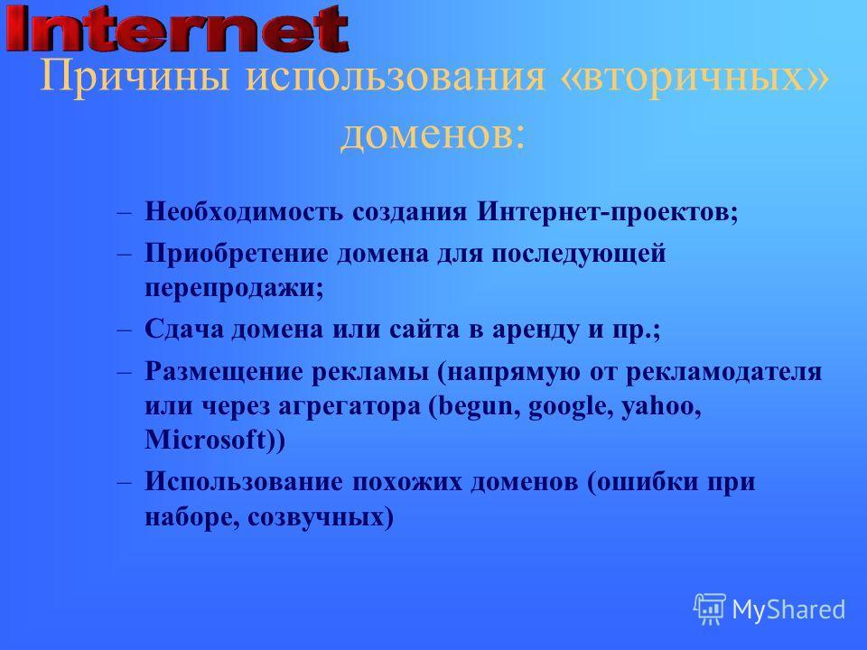 Причины использования «вторичных» доменов: –Необходимость создания Интернет-проектов; –Приобретение домена для последующей перепродажи; –Сдача домена или сайта в аренду и пр.; –Размещение рекламы (напрямую от рекламодателя или через агрегатора (begun