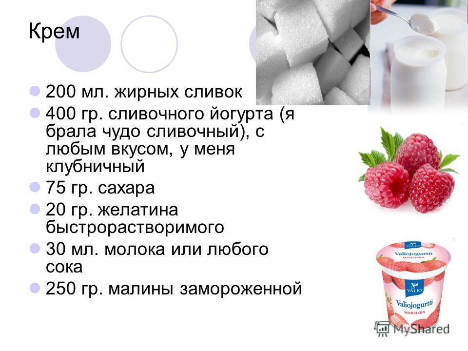 Крем 200 мл. жирных сливок 400 гр. сливочного йогурта (я брала чудо сливочный), с любым вкусом, у меня клубничный 75 гр. сахара 20 гр. желатина быстрорастворимого 30 мл. молока или любого сока 250 гр. малины замороженной
