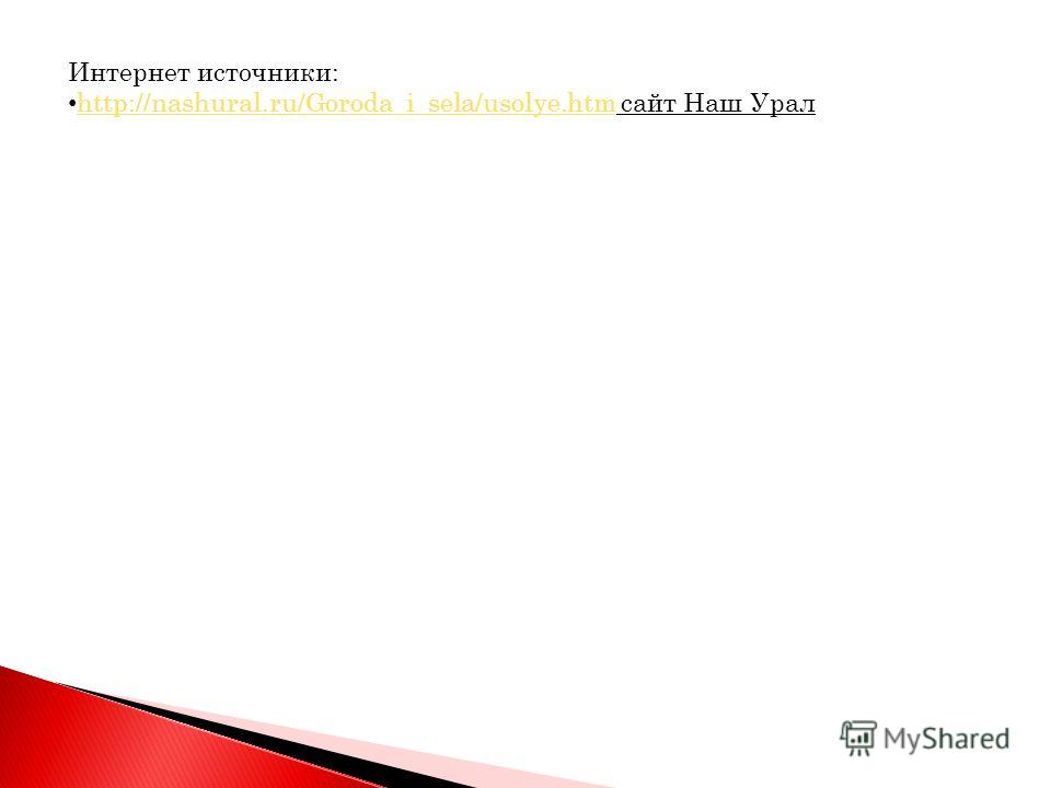 Интернет источники: http://nashural.ru/Goroda_i_sela/usolye.htm сайт Наш Урал http://nashural.ru/Goroda_i_sela/usolye.htm