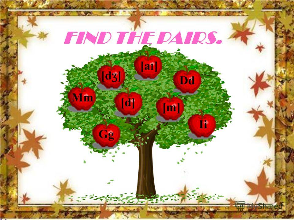 FIND THE PAIRS. Mm Dd Gg Ii [m] [d] [d ʒ ] [a ɪ ]