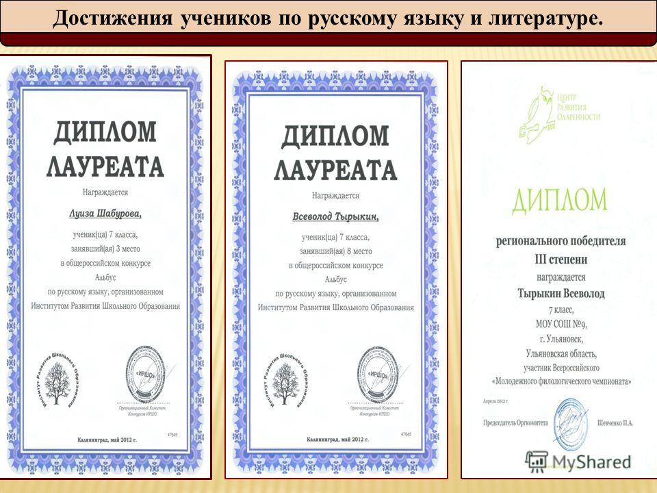 Достижения учеников по русскому языку и литературе.