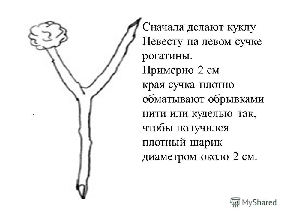 1 Сначала делают куклу Невесту на левом сучке рогатины. Примерно 2 см края сучка плотно обматывают обрывками нити или куделью так, чтобы получился плотный шарик диаметром около 2 см.