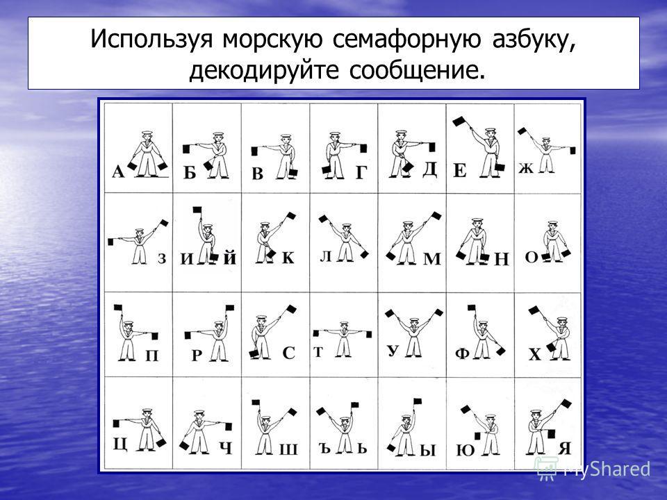 Используя морскую семафорную азбуку, декодируйте сообщение.