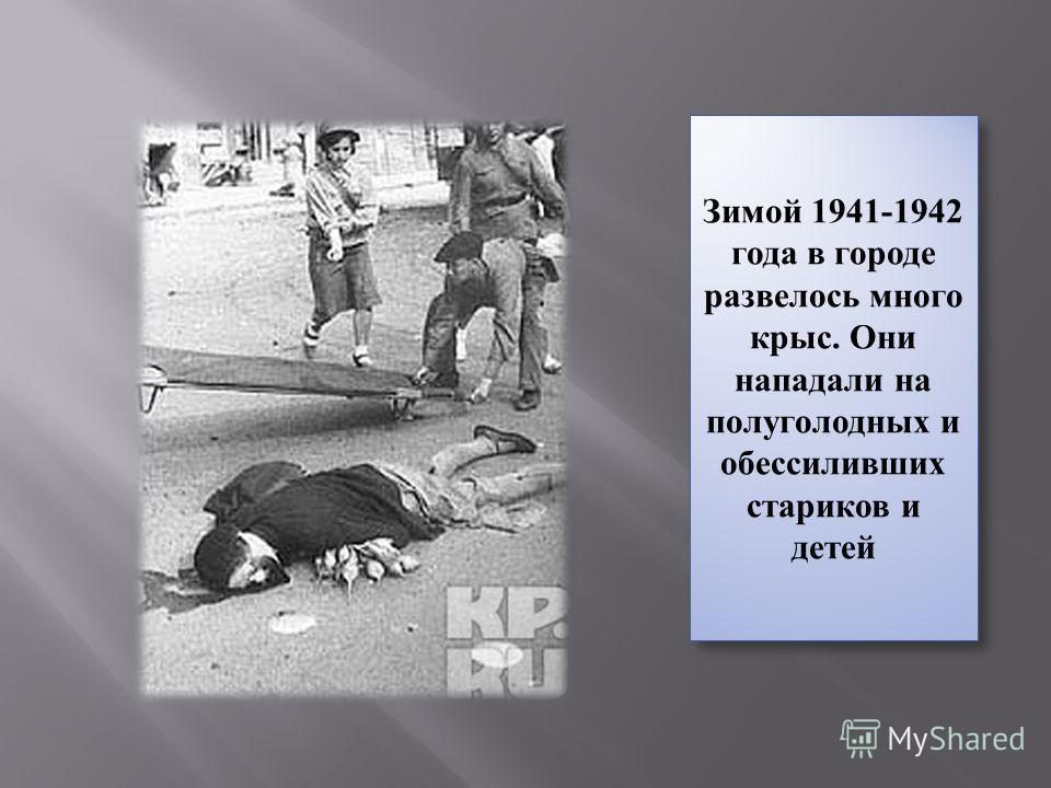 Зимой 1941-1942 года в городе развелось много крыс. Они нападали на полуголодных и обессиливших стариков и детей