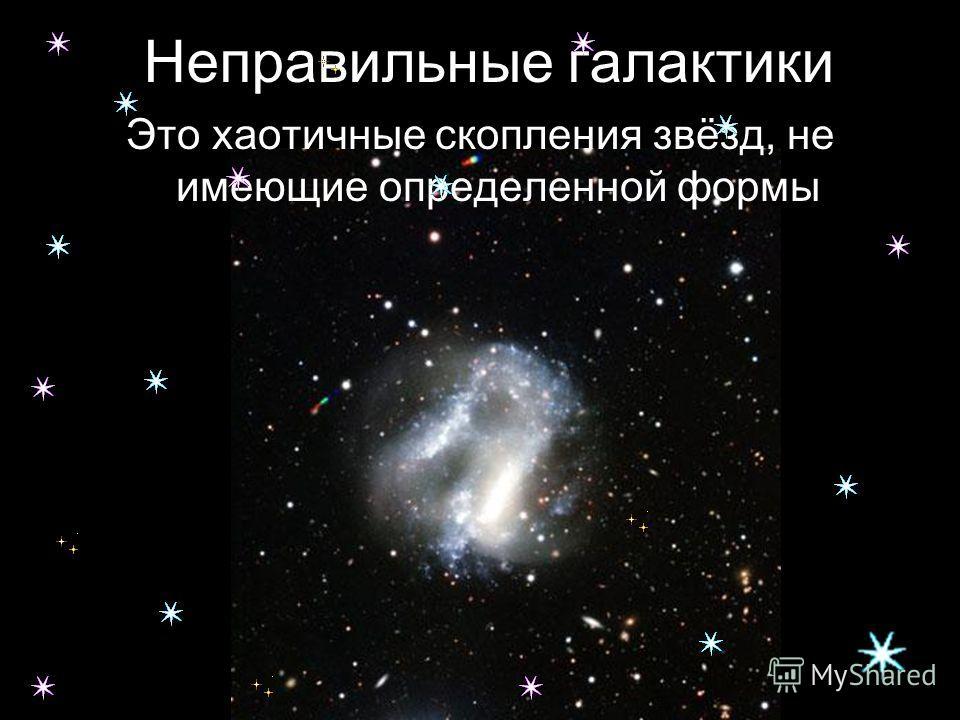 Неправильные галактики Это хаотичные скопления звёзд, не имеющие определенной формы
