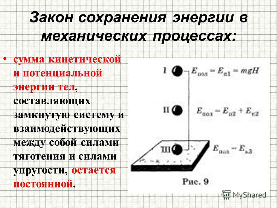 Закон сохранения энергии в механических процессах: сумма кинетической и потенциальной энергии тел, составляющих замкнутую систему и взаимодействующих между собой силами тяготения и силами упругости, остается постоянной.