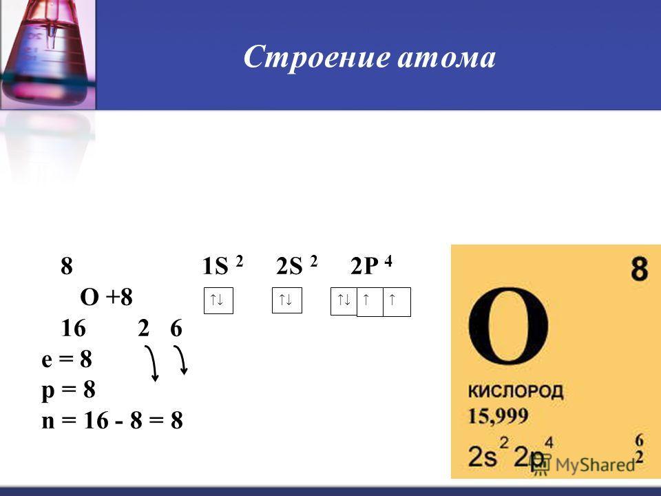 4 Строение атома 8 1S 2 2S 2 2P 4 O +8 16 2 6 е = 8 р = 8 n = 16 - 8 = 8