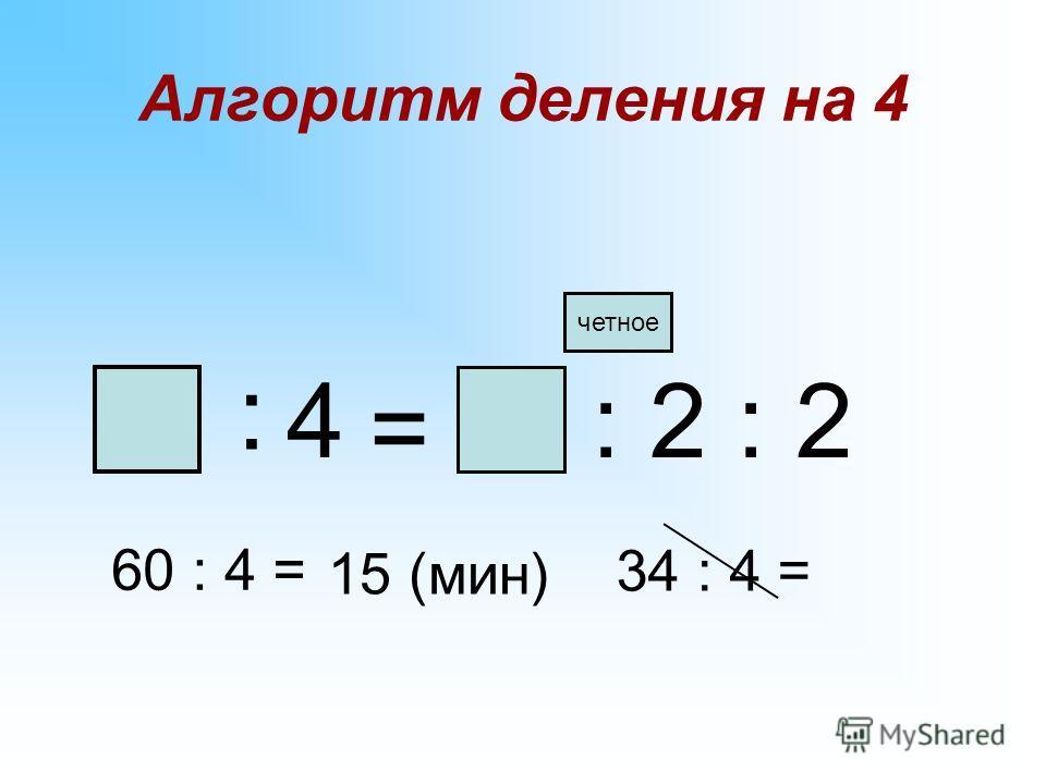 Проблема: ЦЕЛЬ: Как разделить число на 4? открыть способ деления числа на 4