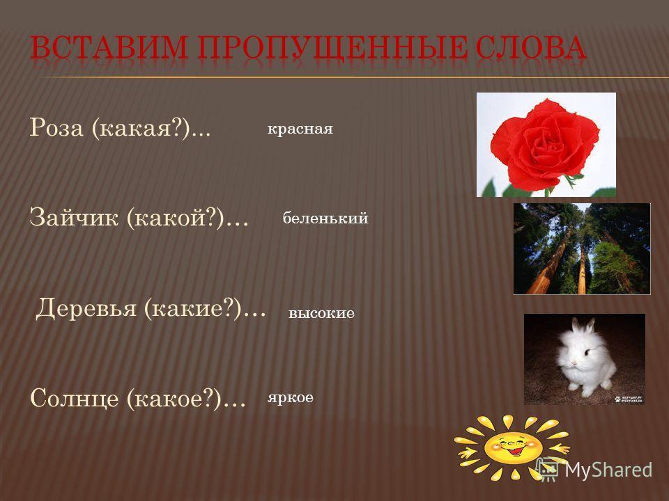 Роза (какая?)... Зайчик (какой?)… Деревья (какие?)… Солнце (какое?)… красная беленький высокие яркое