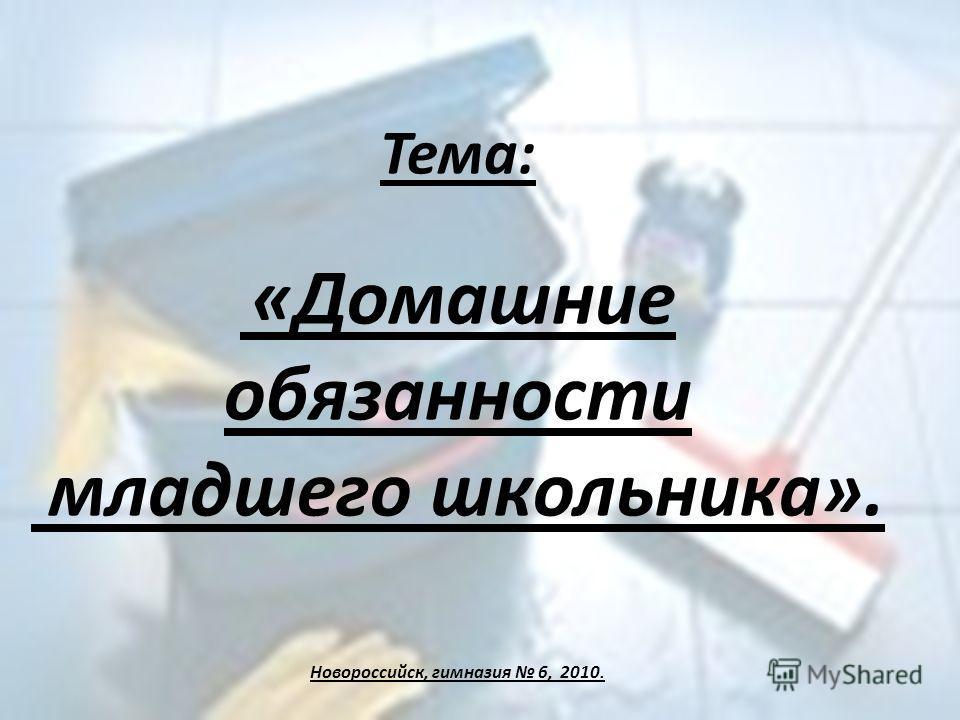 Тема: «Домашние обязанности младшего школьника». Новороссийск, гимназия 6, 2010.