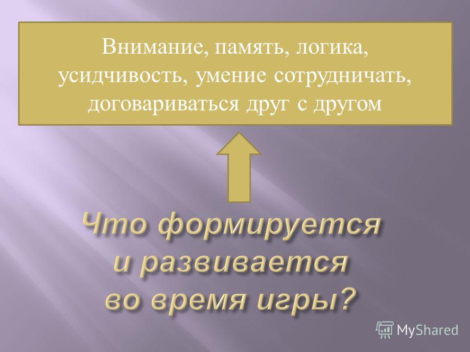 Внимание, память, логика, усидчивость, умение сотрудничать, договариваться друг с другом