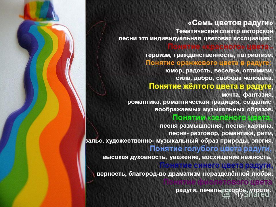 «Семь цветов радуги» Тематический спектр авторской песни это индивидуальная цветовая ассоциация: Понятие «красного» цвета – героизм, гражданственность, патриотизм. Понятие оранжевого цвета в радуге: юмор, радость, веселье, оптимизм, сила, добро, своб