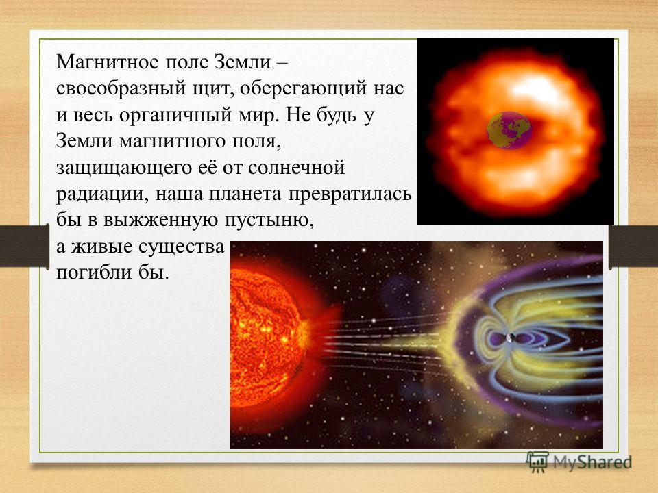 Магнитное поле Земли – своеобразный щит, оберегающий нас и весь органичный мир. Не будь у Земли магнитного поля, защищающего её от солнечной радиации, наша планета превратилась бы в выжженную пустыню, а живые существа погибли бы.