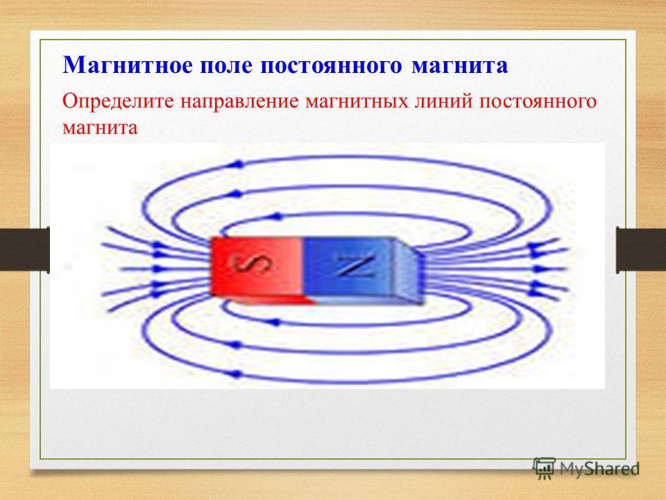 Магнитное поле постоянного магнита Определите направление магнитных линий постоянного магнита