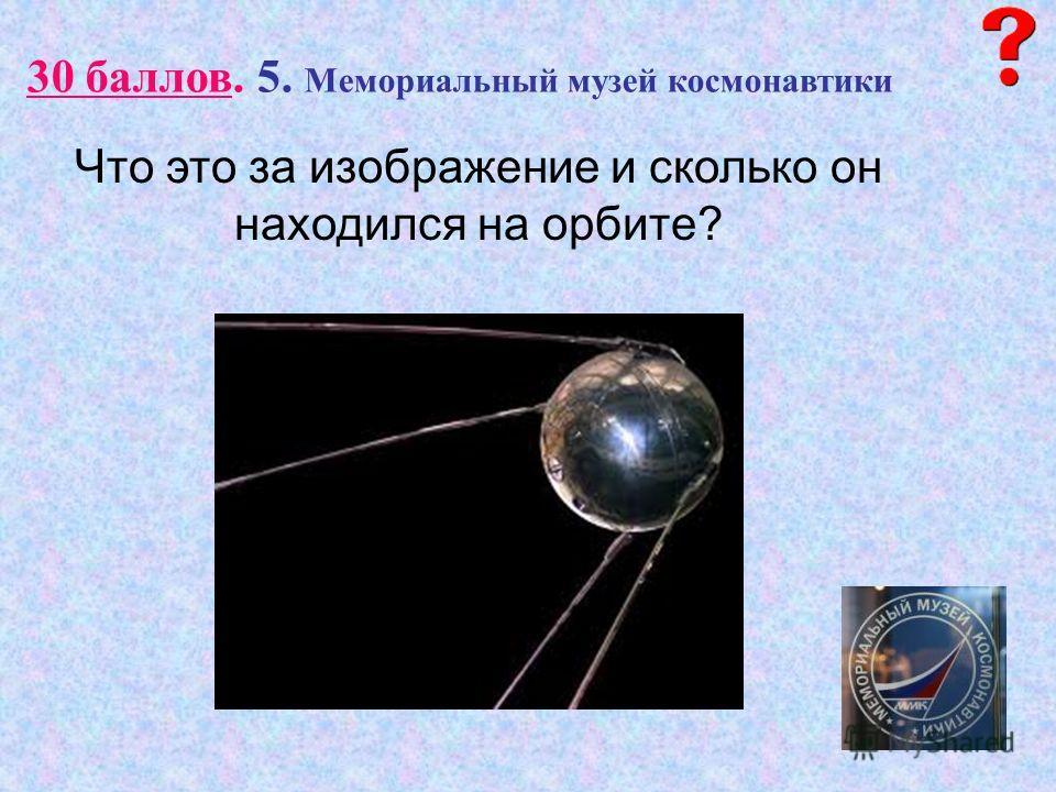 30 баллов. 5. Мемориальный музей космонавтики Что это за изображение и сколько он находился на орбите?