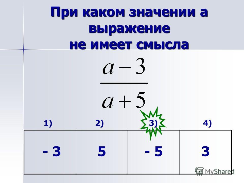 При каком значении а выражение не имеет смысла 1) 2) 3) 4) - 35- 53