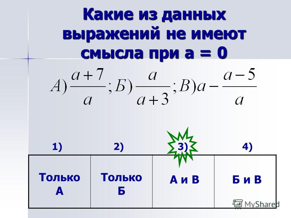 Какие из данных выражений не имеют смысла при а = 0 1) 2) 3) 4) Только А А и В Б и В Только Б