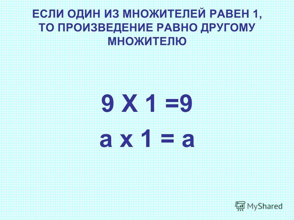 ЕСЛИ ОДИН ИЗ МНОЖИТЕЛЕЙ РАВЕН 1, ТО ПРОИЗВЕДЕНИЕ РАВНО ДРУГОМУ МНОЖИТЕЛЮ 9 Х 1 =9 а х 1 = а