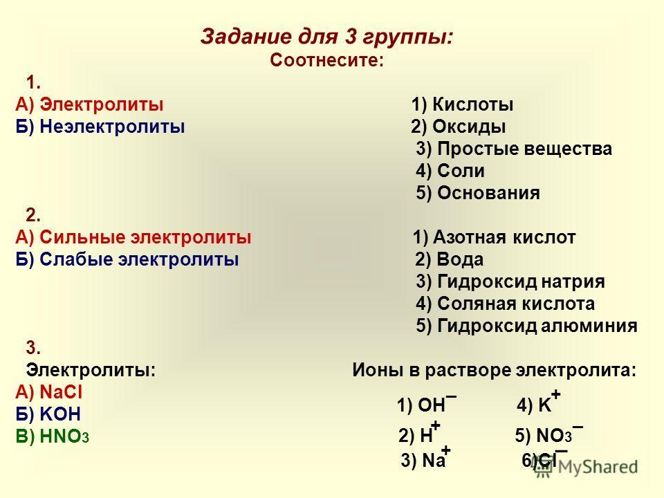 Задание для 3 группы: Соотнесите: 1. А) Электролиты 1) Кислоты Б) Неэлектролиты 2) Оксиды 3) Простые вещества 4) Соли 5) Основания 2. А) Сильные электролиты 1) Азотная кислот Б) Слабые электролиты 2) Вода 3) Гидроксид натрия 4) Соляная кислота 5) Гид