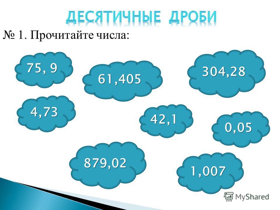 75, 9 4,73 61,405 879,02 42,1 304,28 0,05 1,007 1. Прочитайте числа: