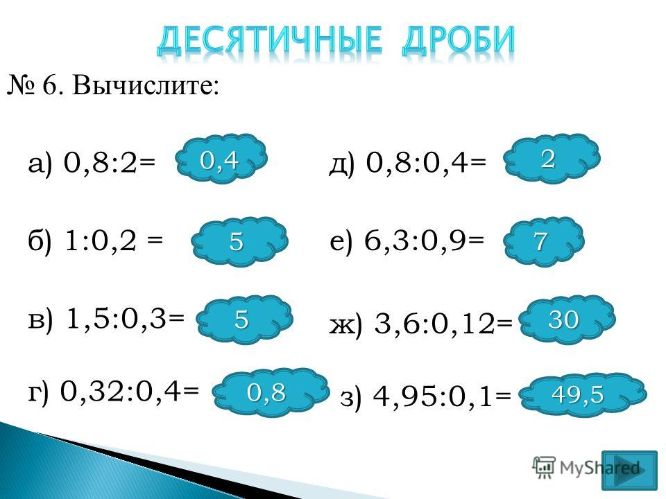 а) 0,8:2= б) 1:0,2 = в) 1,5:0,3= г) 0,32:0,4= д) 0,8:0,4= е) 6,3:0,9= ж) 3,6:0,12= з) 4,95:0,1= 5 2 7 5 0,8 30 49,5 6. Вычислите: 0,4