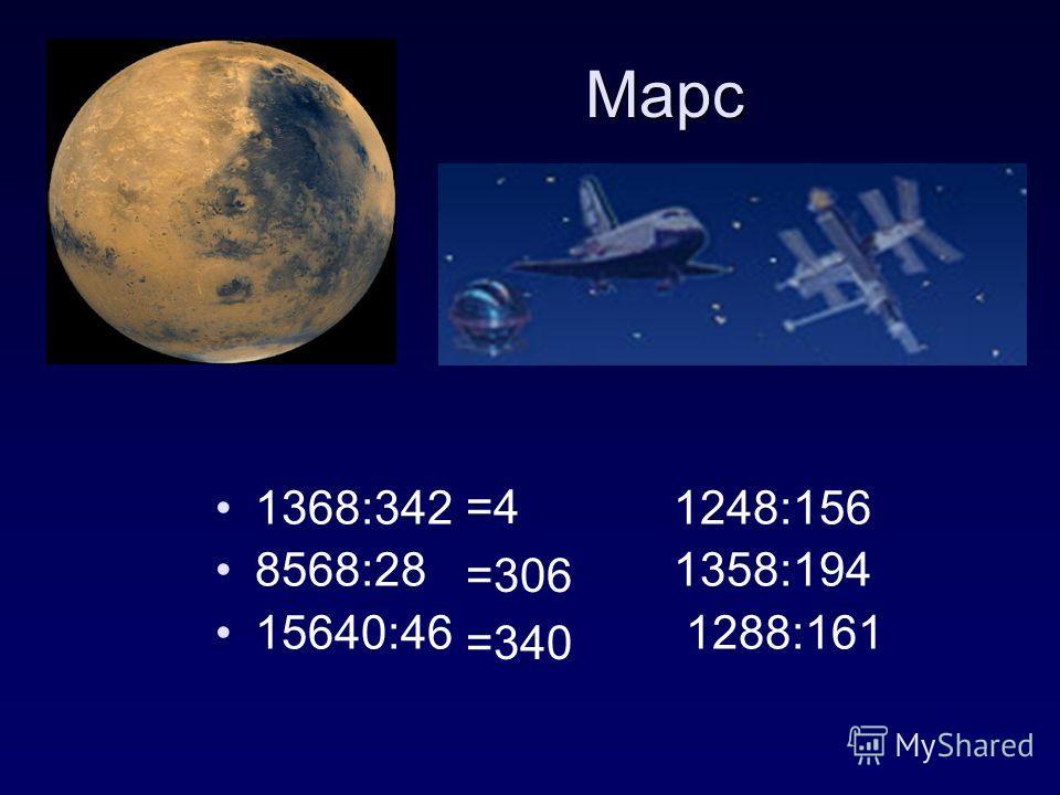 Марс Марс =4 =306 =340 1368:342 1248:156 8568:28 1358:194 15640:46 1288:161