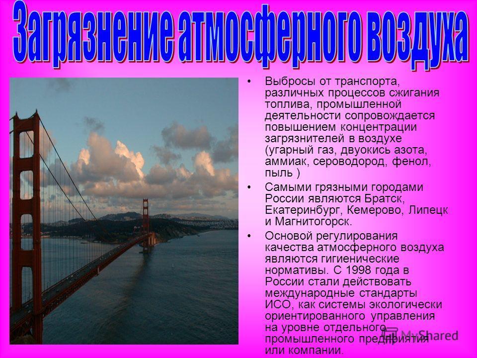 Выбросы от транспорта, различных процессов сжигания топлива, промышленной деятельности сопровождается повышением концентрации загрязнителей в воздухе (угарный газ, двуокись азота, аммиак, сероводород, фенол, пыль ) Самыми грязными городами России явл