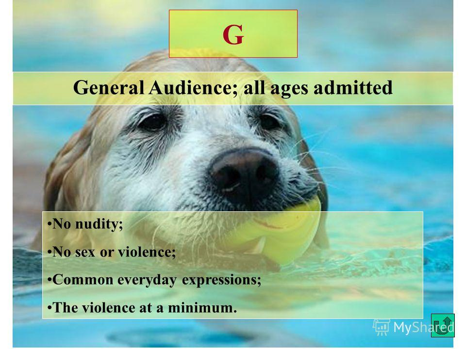 CATEGORIES OF FILMS G PG R NC-17 General Audience Parental Guidance Suggested Restricted No one under 17 admitted