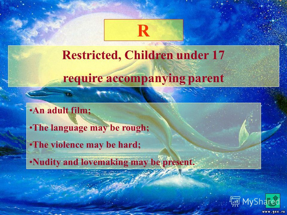 PG Parental Guidance Suggested; some material may not be suitable for children The parents may consider some material unsuitable for their children; There may be unrespectful scenes or words; There may be violence; There is no sex on the screen; Brie