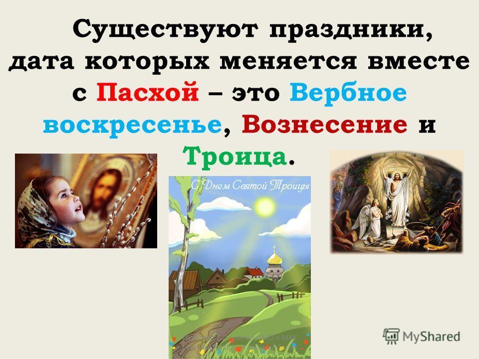 Существуют праздники, дата которых меняется вместе с Пасхой – это Вербное воскресенье, Вознесение и Троица. Путилова Е.Л. учитель ИЗО и МХК моу сош 25 г.Нижний Тагил