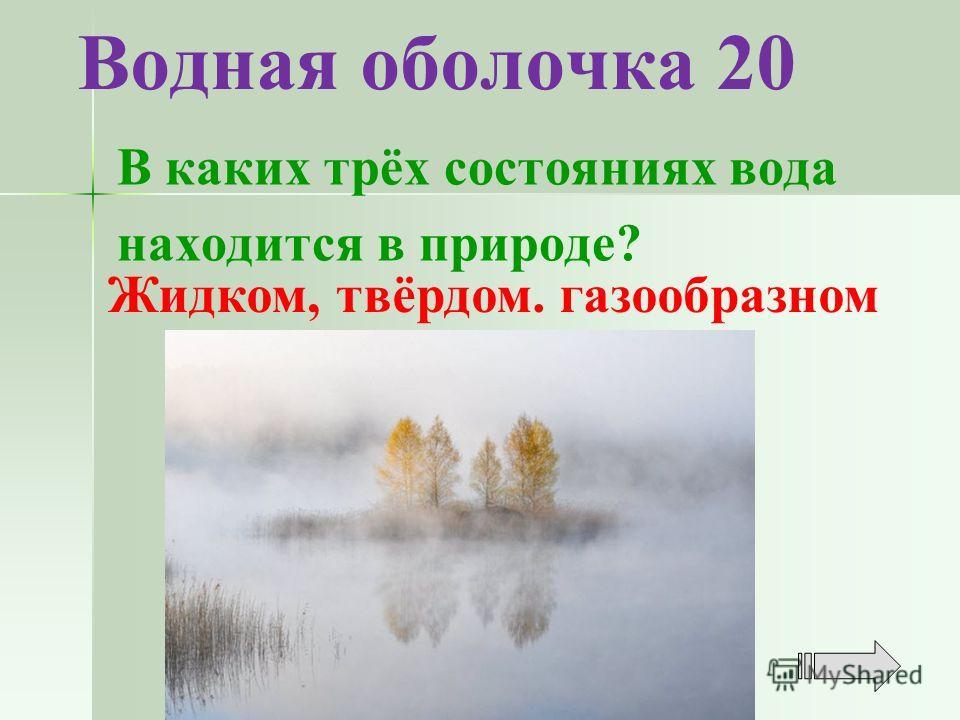 Водная оболочка 20 Жидком, твёрдом. газообразном В каких трёх состояниях вода находится в природе?