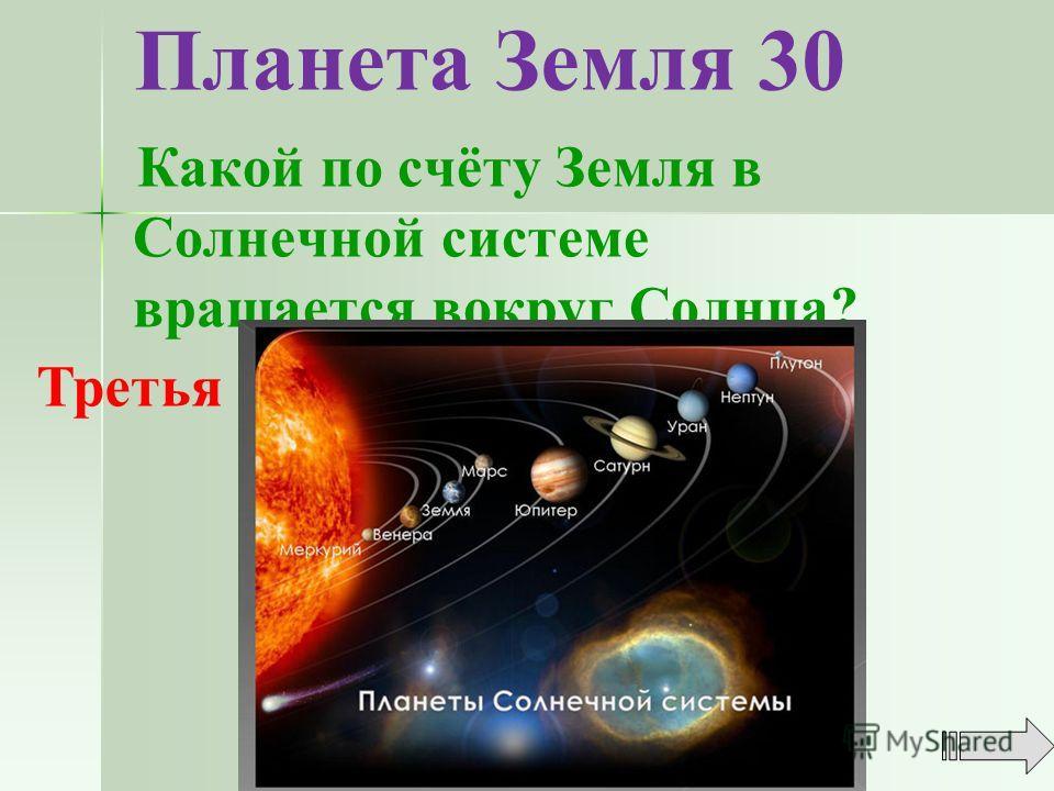 Планета Земля 30 Какой по счёту Земля в Солнечной системе вращается вокруг Солнца? Третья