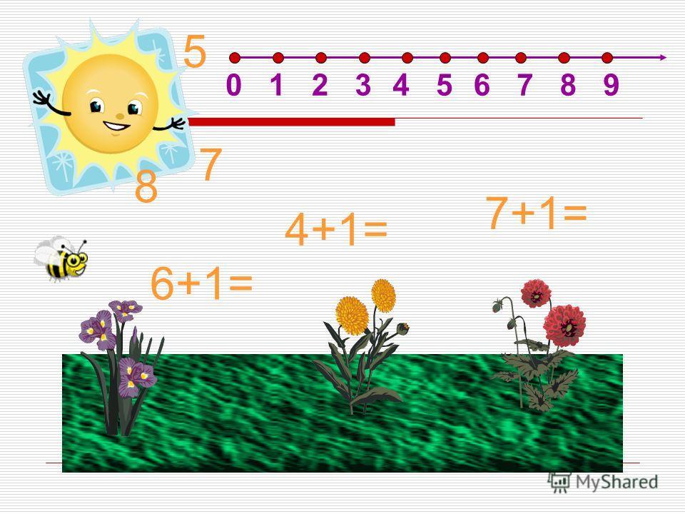 7+1= 6+1= 4+1= 7 8 5 0123456789