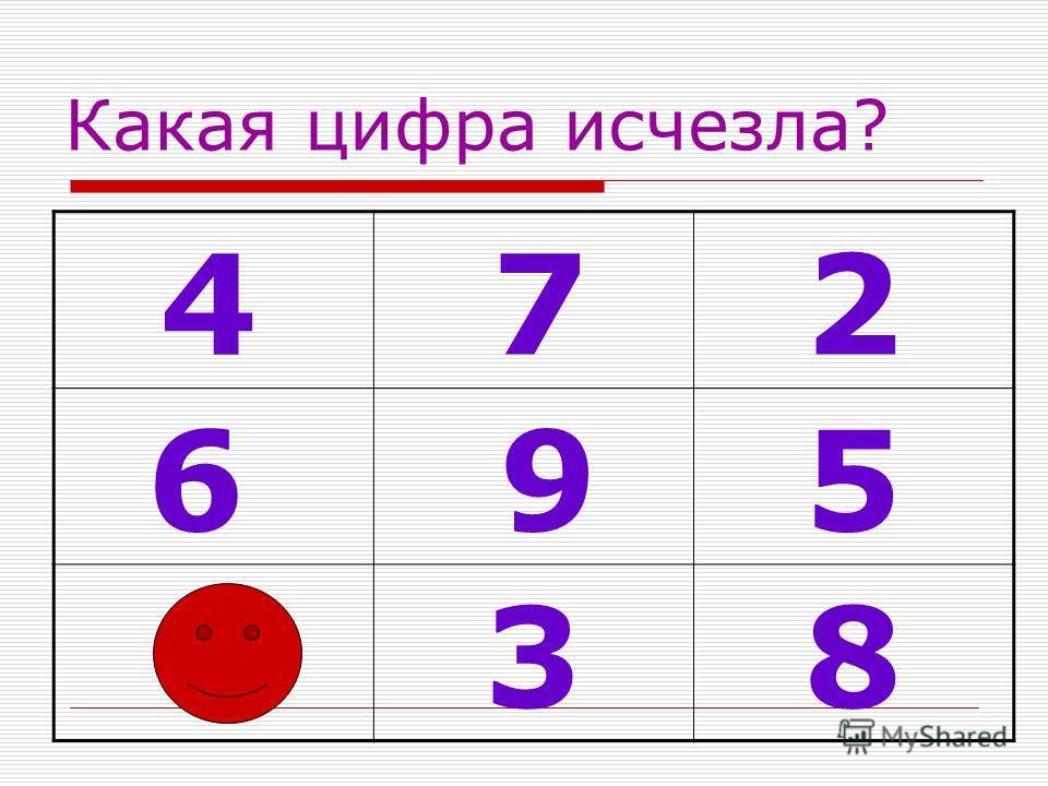 Какая цифра исчезла? 4 7 2 6 9 5 1 3 8
