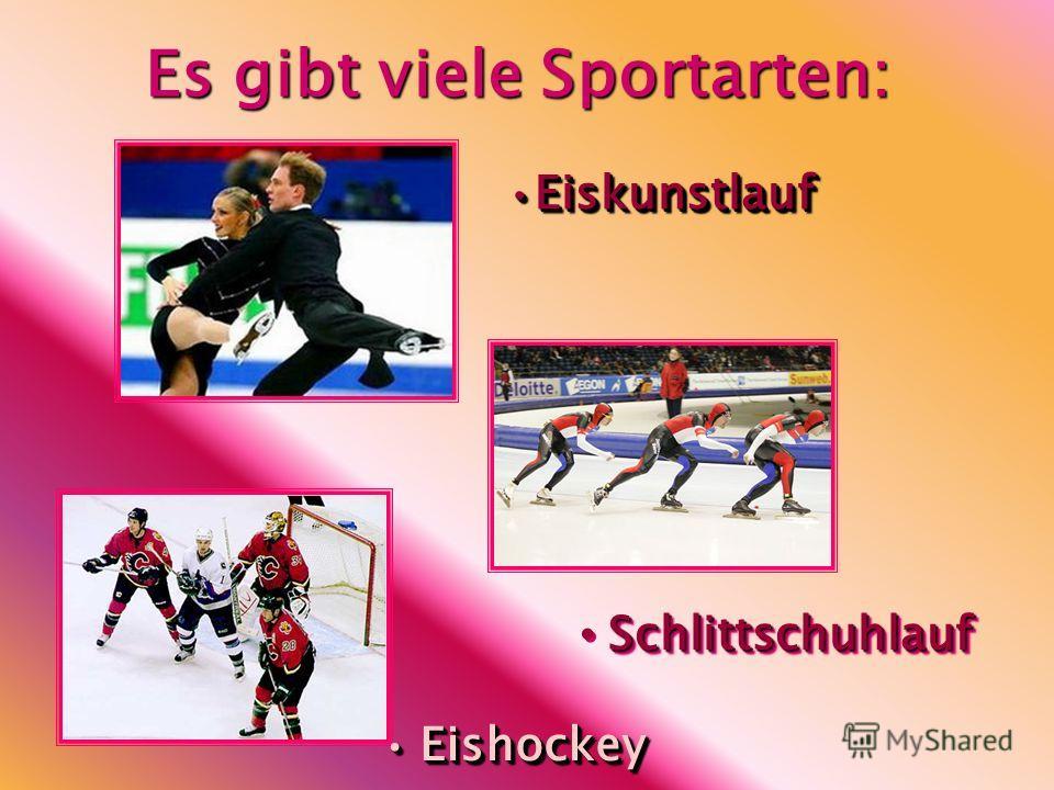 Es gibt viele Sportarten: EiskunstlaufEiskunstlauf Schlittschuhlauf EishockeyEishockey