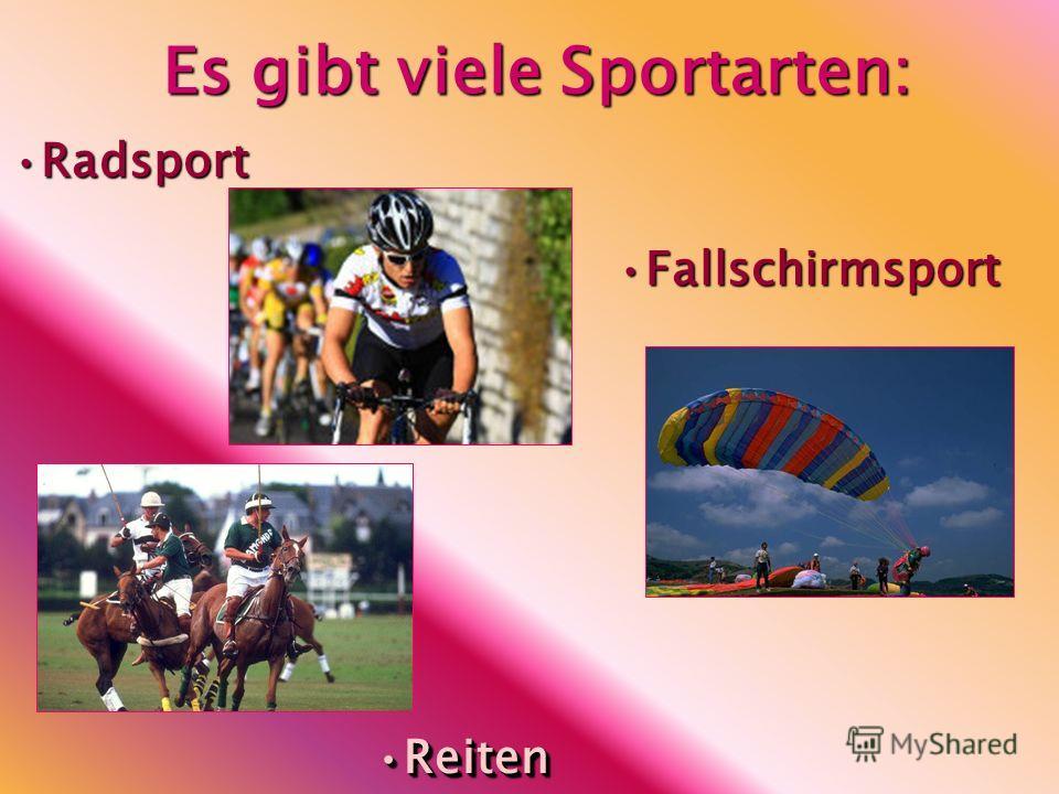 Es gibt viele Sportarten: FallschirmsportFallschirmsport RadsportRadsport ReitenReiten