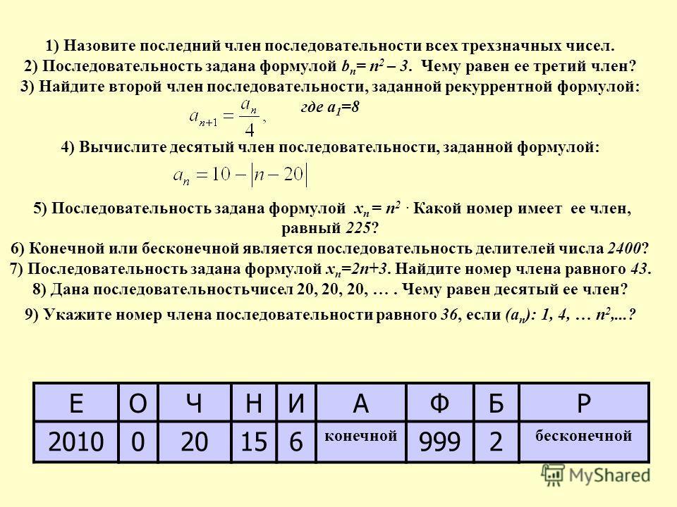 1) Назовите последний член последовательности всех трехзначных чисел. 2) Последовательность задана формулой b n = n 2 – 3. Чему равен ее третий член? 3) Найдите второй член последовательности, заданной рекуррентной формулой: где а 1 =8 4) Вычислите д