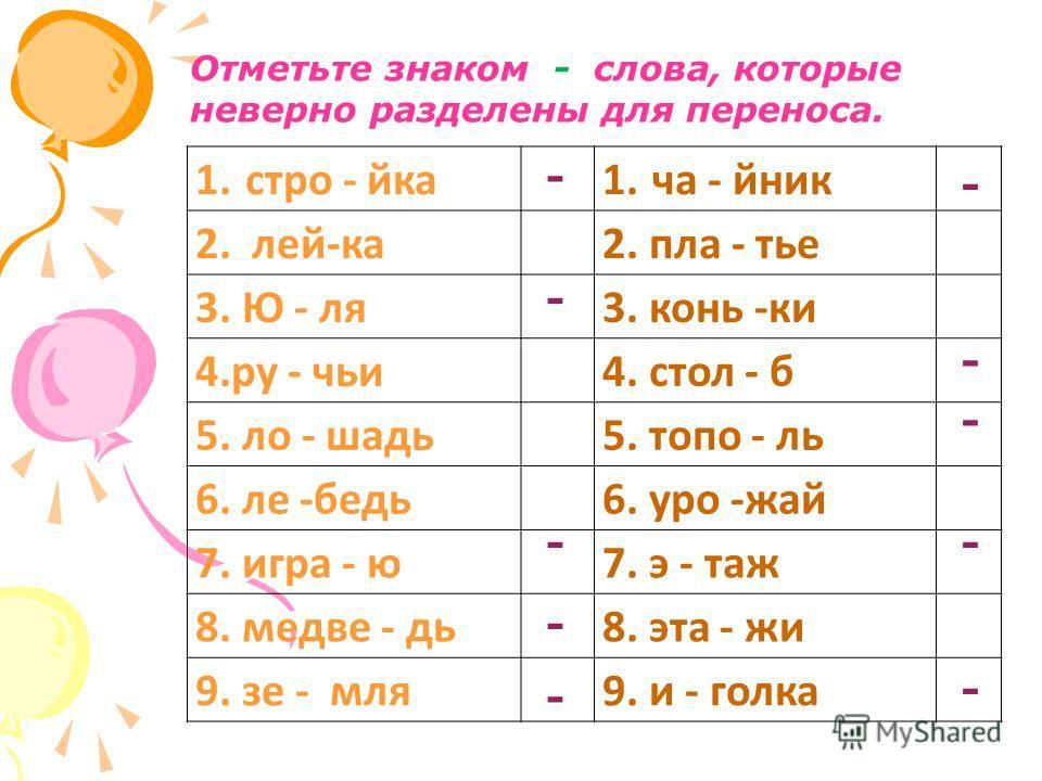 Отметьте знаком - слова, которые неверно разделены для переноса. 1. стро - йка 1. ча - йник 2. лей-ка 2. пла - тье 3. Ю - ля 3. конь -ки 4. ру - чьи 4. стол - б 5. ло - шадь 5. топо - ль 6. ле -бедь 6. уро -жай 7. игра - ю 7. э - таж 8. медве - дь 8.