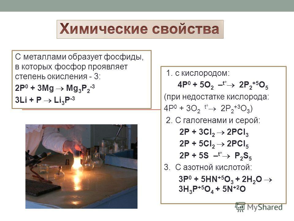 Белый фосфор-Р4. Мягкое, бесцветное вещество, ядовит, имеет чесночный запах, t°пл.= 44°С, t°кип.= 280°С, растворим в сероуглероде (CS 2 ), летуч. Очень реакционноспособен, окисляется на воздухе (при этом самовоспламеняется), в темноте светится. Красн