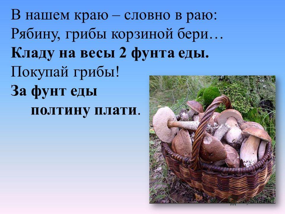 В нашем краю – словно в раю: Рябину, грибы корзиной бери… Кладу на весы 2 фунта еды. Покупай грибы! За фунт еды полтину плати.