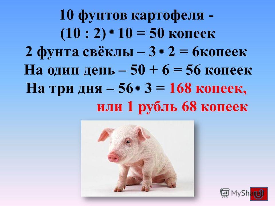 10 фунтов картофеля - (10 : 2) 10 = 50 копеек 2 фунта свёклы – 3 2 = 6 копеек На один день – 50 + 6 = 56 копеек На три дня – 56 3 = 168 копеек, или 1 рубль 68 копеек