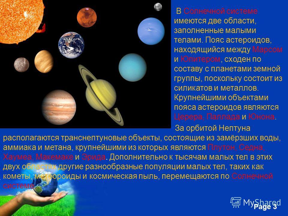 Free Powerpoint Templates Page 3 В Солнечной системе имеются две области, заполненные малыми телами. Пояс астероидов, находящийся между Марсом и Юпитером, сходен по составу с планетами земной группы, поскольку состоит из силикатов и металлов. Крупней