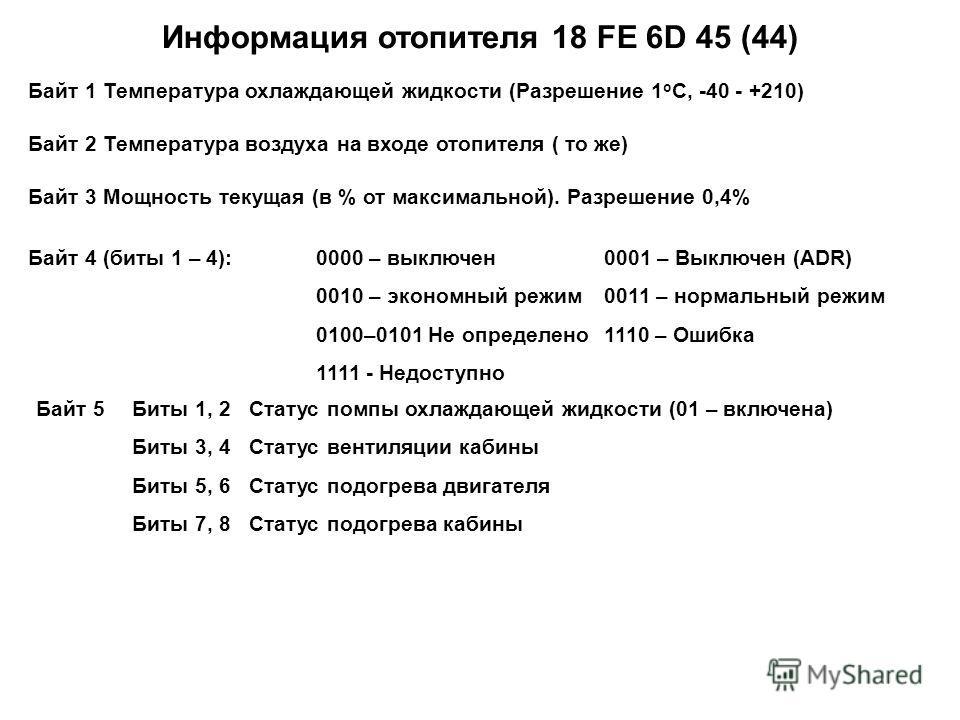 Информация отопителя 18 FE 6D 45 (44) Байт 1 Температура охлаждающей жидкости (Разрешение 1 о С, -40 - +210) Байт 2 Температура воздуха на входе отопителя ( то же) Байт 3 Мощность текущая (в % от максимальной). Разрешение 0,4% Байт 4 (биты 1 – 4): 00