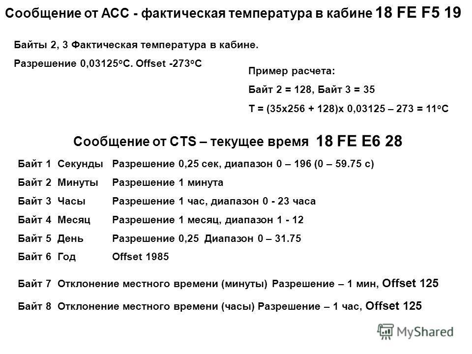 Сообщение от АСС - фактическая температура в кабине 18 FE F5 19 Байты 2, 3 Фактическая температура в кабине. Разрешение 0,03125 о С. Offset -273 o C Пример расчета: Байт 2 = 128, Байт 3 = 35 Т = (35 х 256 + 128)х 0,03125 – 273 = 11 о С Сообщение от С